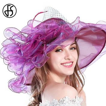 FS 9 Colors Fashion Summer Organza Sun Hats For Women Elegant Laides Church Vintage Hat Wide Large Brim With Big Flower