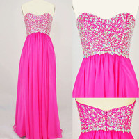 Strapless Sweetheart with Beading Chiffon Long Pink Prom Dress from FancyGirl