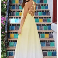 Yellow to white ombre maxi dress with braided straps | Eden | escloset.com
