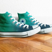 Jade green & navy blue ombre Converse, dip dye upcycled vintage sneakers, All Stars, high tops, eu 36.5 (UK 4, US wmns 6, US men's 4)