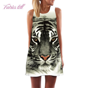 Fairies tell Casual Print Dress New 2017 Tiger Pattern Printed Sleeveless Vest Dress vestido Woman Short Mini Dresses ST87