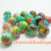 20 Rainbow Glass Beads Tie Dye Bead Marbled Beads Round Multicolored Bright 8mm Loose Beads 3989