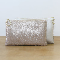 Champagne Sequins and Silver Champagne Metallic Leather Clutch / Sparkly Cosmetic Case / Fancy Bridesmaid Gift - Almquist Design Studio