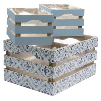 Set of 3 French Countryside Blue Rectangular Wooden Decorative Storage Box Nesting Crates 13.5""