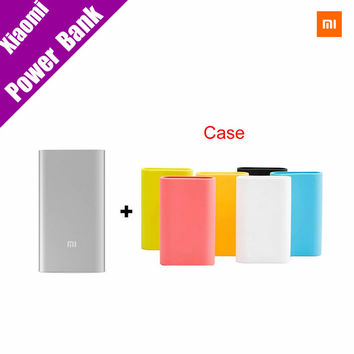 Original Xiaomi Power Bank 5000mAh Mi Portable Charger Slim Powerbank 5000 for Xiaomi Mobile Phones with Silicone Case