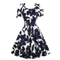 Navy Floral Print Bow Tie Detail Dress