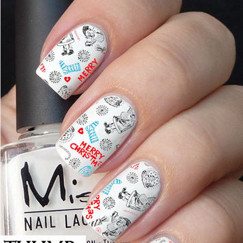 Santa and Stocking nail decal