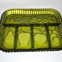 INDIANA GLASS Divided 5 Part Relish Dish FRUIT Design Avocado Green Apples Grapes Pear Cherries