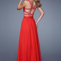 La Femme 21152 Flowy Two Piecev Beaded Red Prom Dress