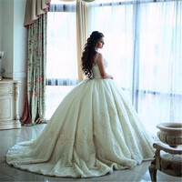Vintage Ball Gown Wedding Dress Luxury Lace Appliques Beading Custom High Quality Wedding Dress