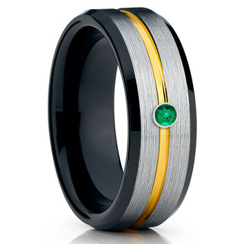 Yellow Gold Tungsten Band - Men's Black Ring - Emerald Wedding Band - 8mm