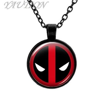Deadpool Dead pool Taco 3 Colors Europe and the United States selling animation peripheral products dead mortal  logo alloy time gem necklace AT_70_6