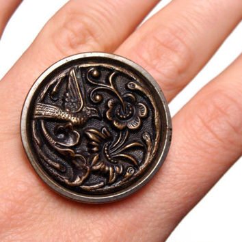 "Vintage Bird Ring, Flora Fauna Button Ring, Nickel Free Jewelry, Bronze Bird Flower Ring, Bird of Paradise Antique - ""Birds of a Feather"""
