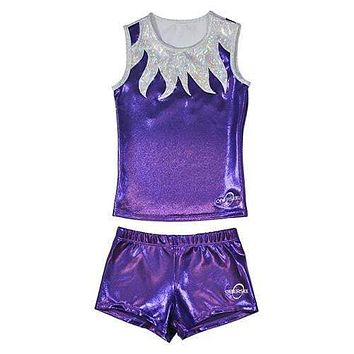 O3CHSET009 - Obersee Cheer Dance Tank and Shorts Set - Purple Flames