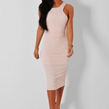 Astonia Nude Ruched Midi Dress | Pink Boutique