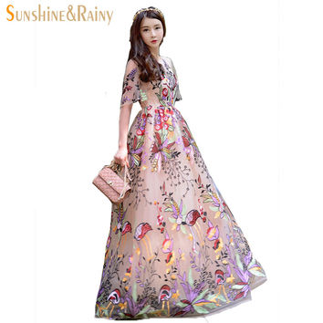 new summer women floral garden Luxury embroidery dress girls party mesh lace patchwork hollow Palace retro PLUS travel dress