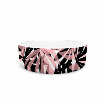 "Amy Reber ""Black And Pink Palms"" Leaves Pattern Pet Bowl"