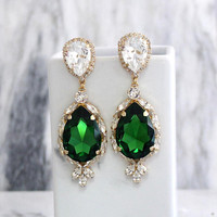 Emerald Earrings, Emerlad Long Earrings, Bridal Earrings, Statement Earrings, Emerald Statement Earrings, Green Swarovski Crystal Earrings