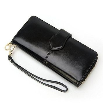 Gionar Women Vintage Oil Cowhide Leather Card and Money Zipper Long Purse and Wallet