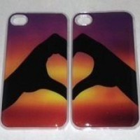 CLEAR Phone Case for iPhone 4 4S HEART RAINBOW MATCHING BFF BEST FRIEND BOYFRIEND GIRLFRIEND