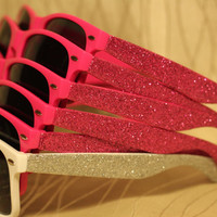 Bachelorette Party Sunglasses with Glitter Side Sparkly/Glitter Sunglasses