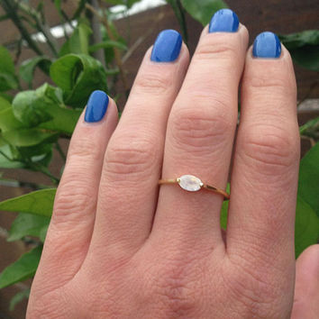 20% off-SALE!! Moonstone Ring - Genuine Gemstone - Rainbow Stone Ring - Slim Band - Stacking Ring - June Ring - Simple Ring - Gold Ring
