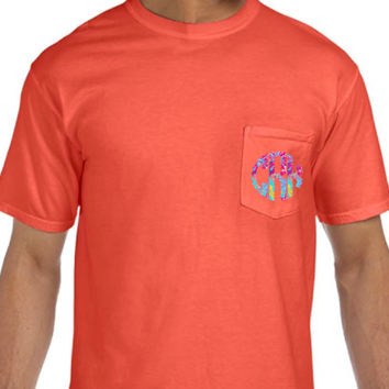 Comfort Colors Pocket Tee with Lilly Pulitzer Scallop Monogram