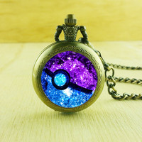 Pokeball Nebula Pocket Watches Necklace,Gift Necklace,Pokemon Necklace,For Women Y234