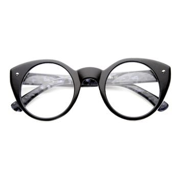 Cute Retro Animal Print Round Cat Eye Clear Lens Glasses 9647