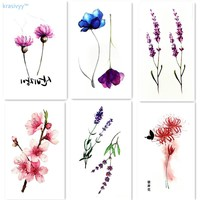 6pcs hot sale flowers style Waterproof Temporary Tattoo Sticker body art  tattoo finger Water Transfer flash tattoo fake tattoo