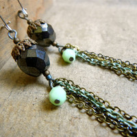 SALE: 20 Percent OFF the ENTIRE shop - Toasted Mint Long Vintage Beaded Earrings