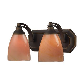 570-2B-SY Bath And Spa 2 Light Vanity In Aged Bronze And Sandy Glass - Free Shipping!