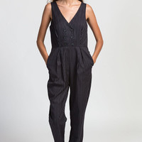 Pinstripe Tailored Jumpsuit