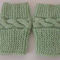 Lace cable mint green Boot cuffs, Boot socks