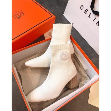 Hermes Volver 60 Ankle Boot In Knit White - Best Online Sale