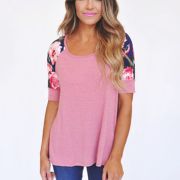 Dusty Rose Floral Sleeve Top