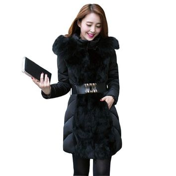 Fashion Autumn Winter Jacket Women Wadded Jackets Parka Slim Fur Collar Hooded Winter Coat Women Luxury Down Jacket MM0256
