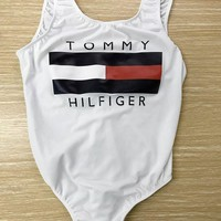 Tommy Hilfiger Tide brand women's sexy leaky triangle one-piece swimsuit white