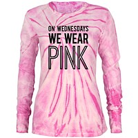 On Wednesdays We Wear Pink Juniors Long Sleeve Thermal Shirt