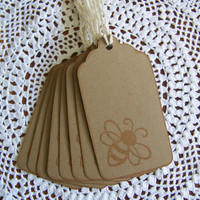 Bumble Bee Gift Tags, Kraft Gift Tag with Bumble Bee set of 8