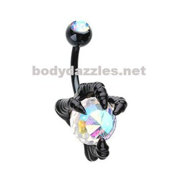 Black Dragon's Claw Belly Button Ring Navel Ring 14ga Body Jewelry