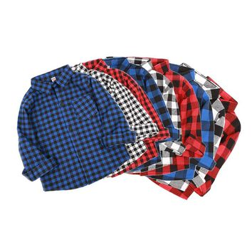 Christmas Kids Red Blue Plaid Collar Shirts Casual Boys Shirts Autumn Children's Tops Pocket Outwear Cotton Children's Clothing