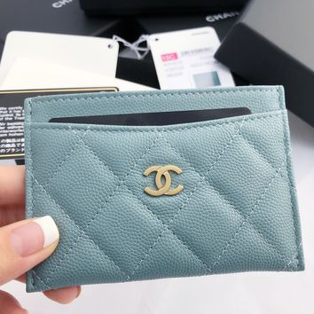 NWT Chanel Caviar Gray Turquoise O-Card Holder O-Case Wallet