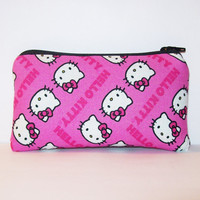 """Hello Kitty Chevrons in Pink Cotton Padded Pipe Pouch 5.5"""" / Glass Pipe Case / Spoon Cozy / Piece Protector / Pipe Bag / SMALL"""