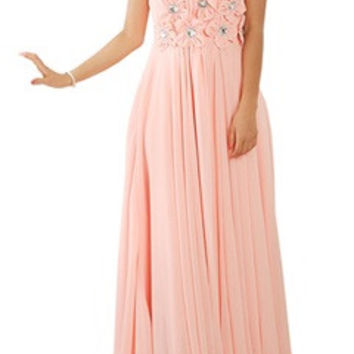Blush Floral Waist Shirred Bust Full Length Dress
