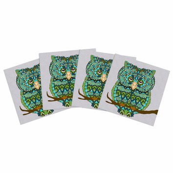 "Art Love Passion ""Great Green Owl"" Teal Gray Indoor/Outdoor Place Mat (Set of 4)"