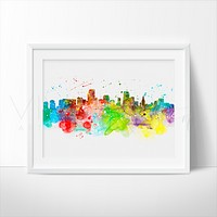 Miami Skyline Watercolor Art Print