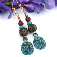 Scarabs, Czech Glass and Garnet Dangle Earrings, Rustic Handmade Artisan Jewelry