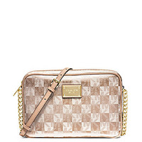 MICHAEL Michael Kors Signature Checkerboard Jet Set Metallic Large Cro