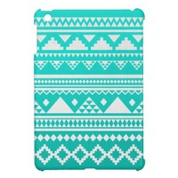 Mai - Turquoise Teal White Ombre Aztec Pattern Case For The iPad Mini from Zazzle.com